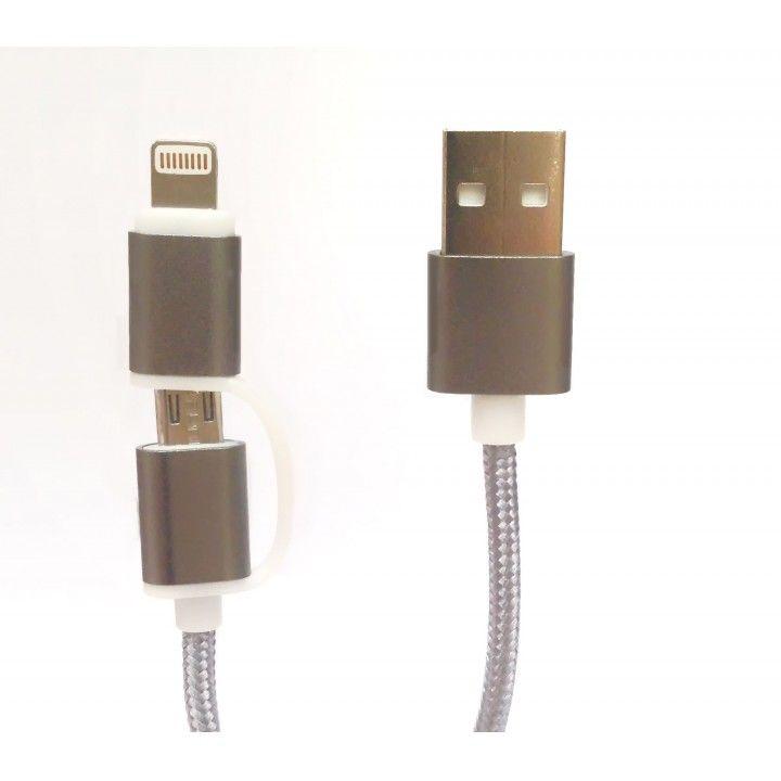 TECH FUZZION CABO USB MICRO LIGHTNING SILVER
