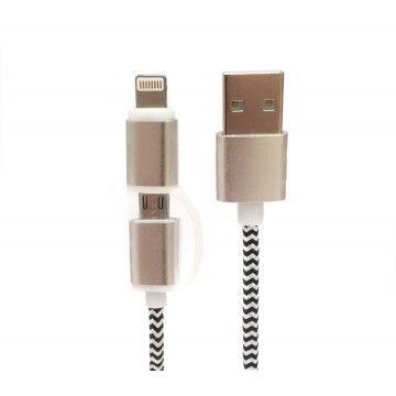 TECH FUZZION CABO USB MICRO LIGHTNING PRETO/BRANCO