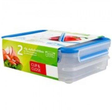 TEFAL CLIP & CLOSE PLASTICO RETANGULAR DUPLA 2X0.6L+TAMPA