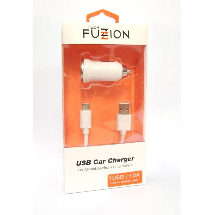 TECH FUZZION CAR CHARGER 1 USB 12V + CABO TYPE-C USB